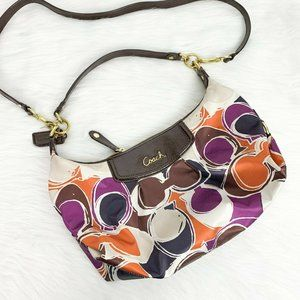 Coach Multicolor Ashley Hand Drop ScarfPrint Purse